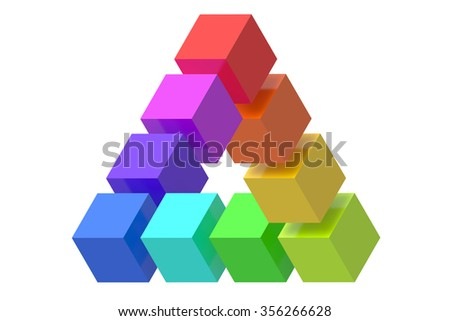 Impossible triangle optical illusion isolated on white background - stock photo