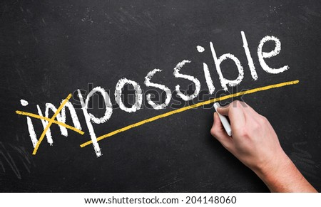 impossible turns to possible - stock photo