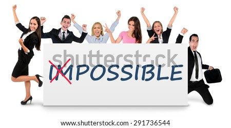 Impossible word on white banner - stock photo