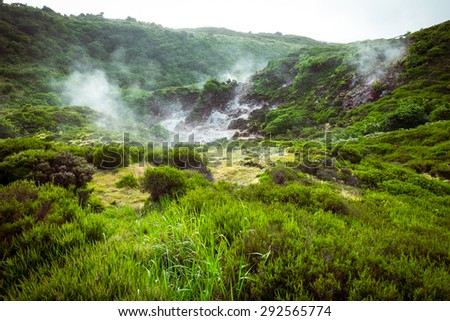 Impressionate landscape of sulphur fumaroles of Furnas do Enxofre in Terceira island, Azores, Portugal, Europe - stock photo