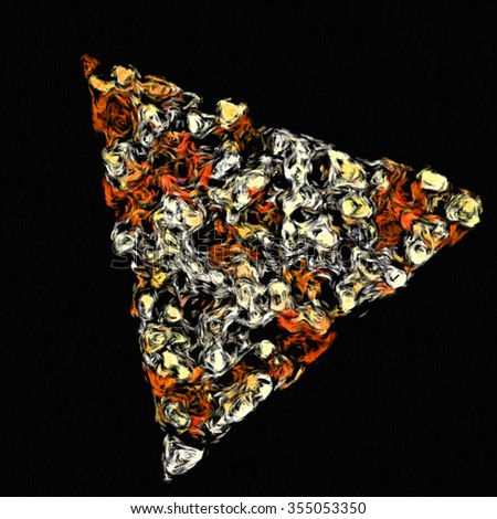 impressionism painting pizza piece, triangles minimalism geometry design, clothes pattern stamp, abstract design, geometry style modern wave - stock photo