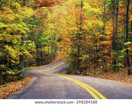 Impressionist art of an Autumn road leading through Pine Mountain State Park in Kentucky USA - stock photo