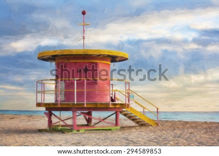 Impressionist art of life guard station on South Beach Miami Florida USA