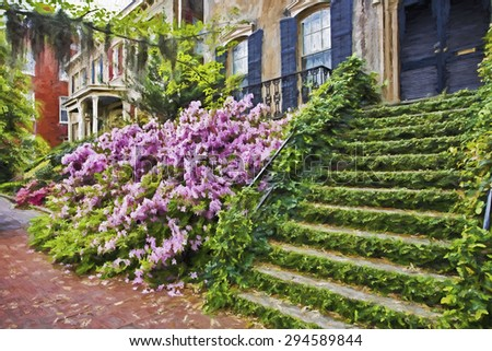 Impressionist art of the historic district of Savannah Georgia in early spring with the Azaleas in bloom. - stock photo