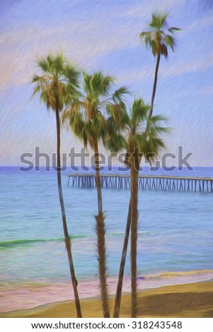 Impressionistic Image of Southern California Coast with Pier and Palm Trees - stock photo