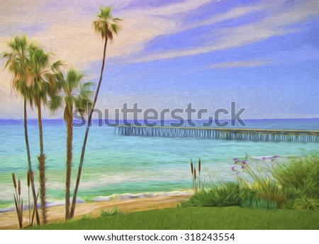 Impressionistic Image of Southern California Coast with Pier and Palm Trees