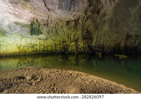 Impressions from Planina Cave situated nearby Postojna in Slovenia. Inside this large Karst Cave is a confluence of two underground rivers, Pivka and Rak River.