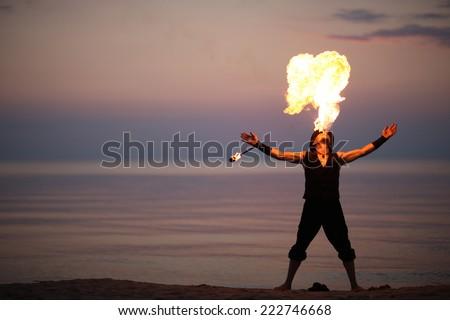 Impressive fire show - stock photo