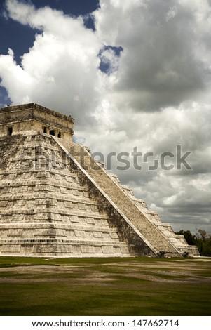 impressive Mayan temple, holiday destination - stock photo
