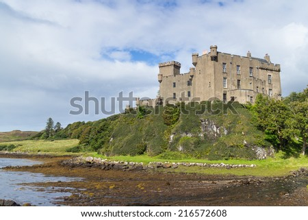 Impressive medieval Dunvegan Castle of the Clan MacLeod in Dunvegan, Scotland