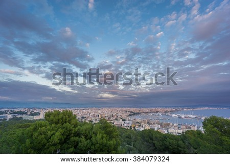 Impressive Palma, Majorca, Spain. Shot from bellver castle - stock photo