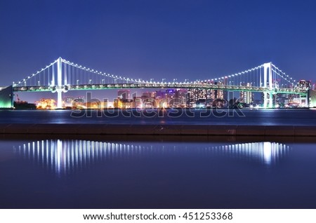 Impressive scene of the Tokyo Rainbow Bridge at just 8:00pm  - stock photo