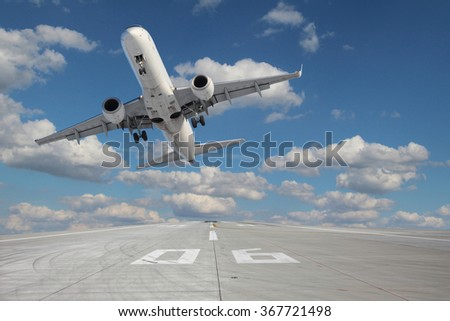 Impressive view of the aircraft taking off from runway - stock photo