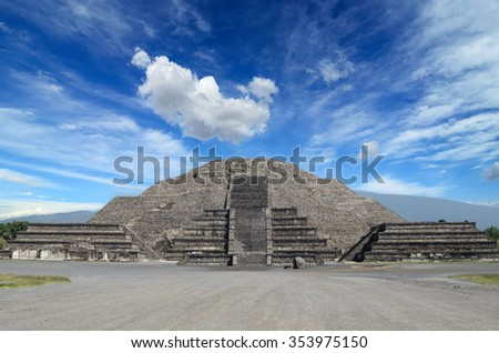 Impressive view to Pyramid of the Moon and Avenida of the Dead at Teotihuacan - stock photo