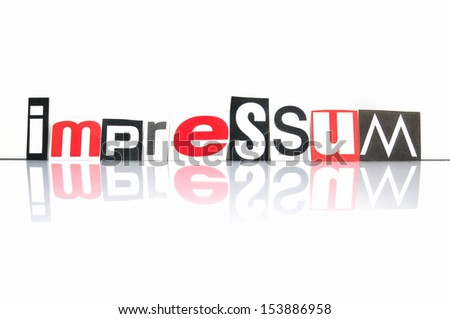 Impressum,Contact information for websites with newspaper letters - stock photo