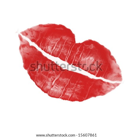 imprint of lipstick mark in red color - stock photo