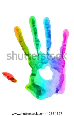 imprint of the hands of bright colors