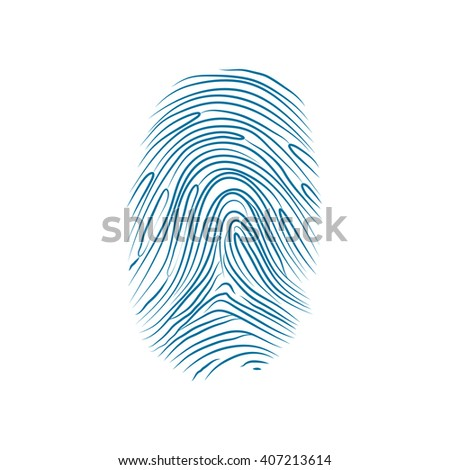 Imprint of the thumb of the human hand isolated on white - stock photo