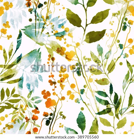 imprints herbs, flowers and leaves. abstract watercolor and digital image. hand drawn boho spring seamless pattern. mixed media artwork for textiles, fabrics, souvenirs, packaging and greeting cards.