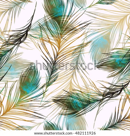 Hand Painted Feather Textures