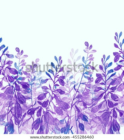 Imprints silhouettes of meadow bells hand painted seamless border