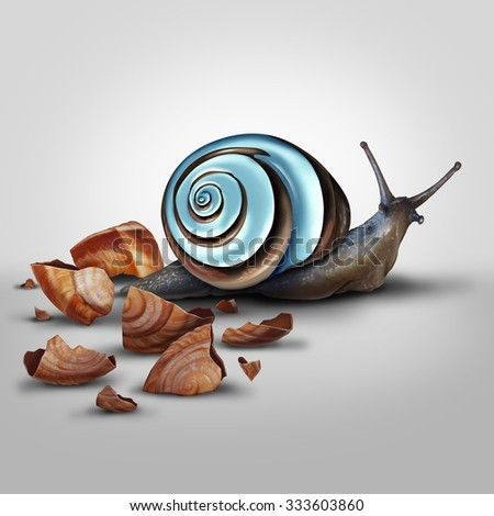 Improvement concept as a snail Shedding old shell for an upgrade as a modern chrome one as a metaphor for new and improved and adapting and advancing with new technology. - stock photo