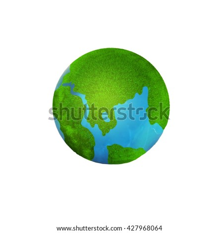improvised globe with green continents. 3D illustration