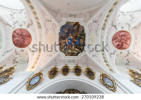 IMST, AUSTRIA - AUGUST 01, 2014: Cistercian Stams Abbey (Stift Stams), founded in 1273 by Count Meinhard II of Gorizia-Tyrol and his wife in Imst, Sonnenplateau, western Innsbruck, Austria - stock photo