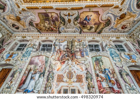 IMST, AUSTRIA - AUGUST 01, 2014: Cistercian Stams Abbey (Stift Stams), founded in 1273 by Count Meinhard II of Gorizia-Tyrol and his wife in Imst, Sonnenplateau, western Innsbruck, Austria