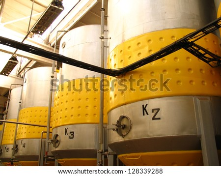 In a factory, where apple wine is made, Lithuania - stock photo