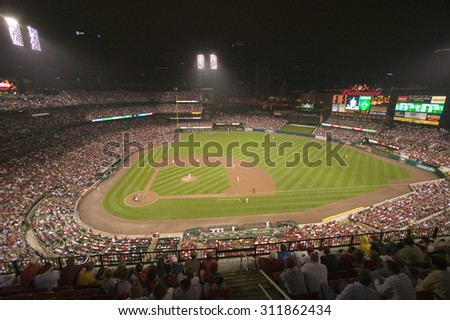 In a night game and a light rain mist, the Florida Marlins beat the 2006 World Series Champion baseball team, the St. Louis Cardinals 9 to 1, at Busch Stadium, St. Louis, Missouri on August 29, 2006 - stock photo