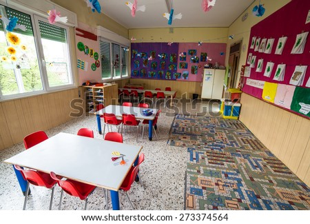 Kindergarten Classroom Stock Images RoyaltyFree Images Vectors - Nursery tables and chairs