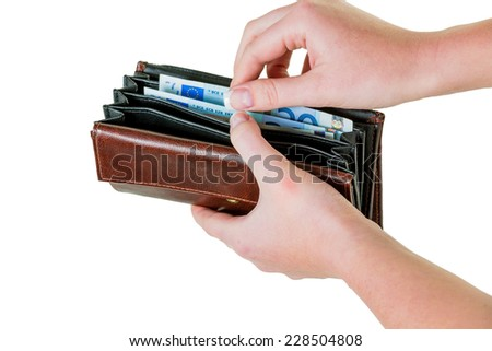 in a wallet, there are some euro banknotes. money is running out by the new poverty. - stock photo