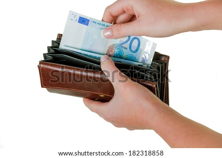 in a wallet, there are some euro banknotes. running short of money by the new poverty. - stock photo