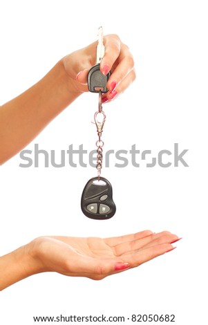 In a woman's hand car key