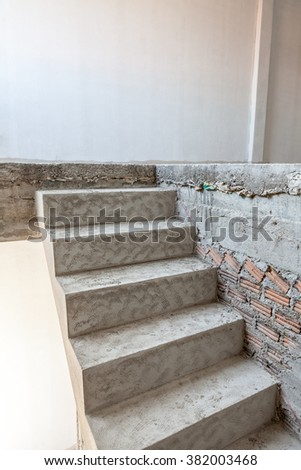 in an building, there is an unfinished stairs - stock photo