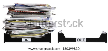 in and out boxes on white  - stock photo
