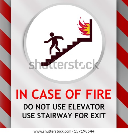 In Case of Fire Warning Sign with red stripes to get attention - stock photo