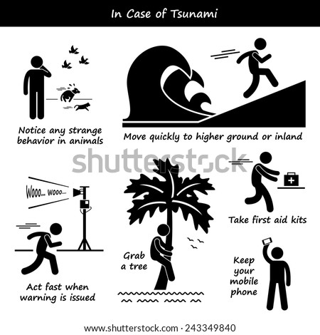 In Case of Tsunami Emergency Plan Stick Figure Pictogram Icons - stock photo
