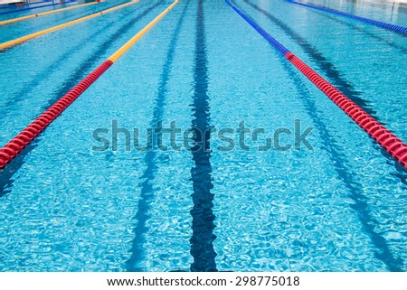In center one platform for start and lane of swimming pool
