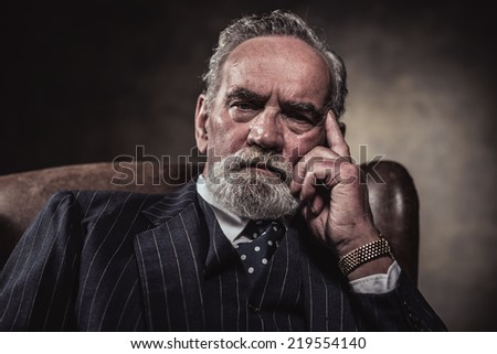 In chair sitting characteristic senior business man. Gray hair and beard wearing blue striped suit and tie. Against brown wall. - stock photo