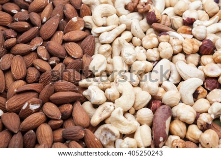 in close up there are various nuts