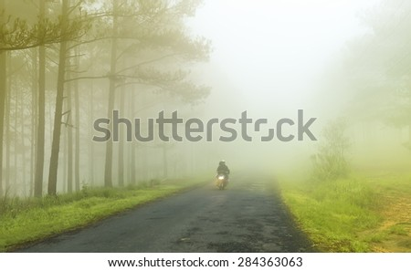 In Da Lat, Lam Dong, Vietnam - May 17th, 2015, A couple running through foggy road unfurling in an early morning in Da Lat, Lam Dong, Vietnam
