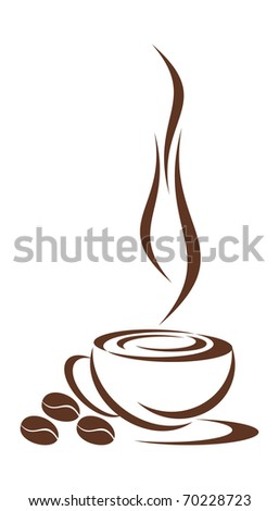 In Drawing the Cup from Coffee is Represented. Coffee Cup hot. Nearby are Three Grains of Coffee. It is all on a White Background. EPS version is available as ID 68509153. - stock photo
