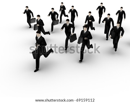 In drawing the group of running businessmans is represented  on white background.