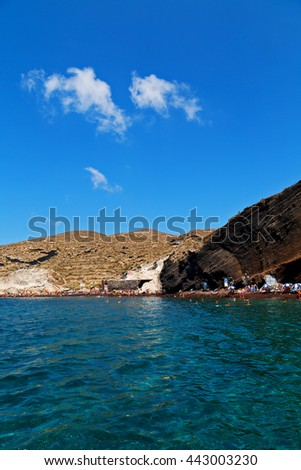 in europe greece santorini island hill and rocks on the summertime beach