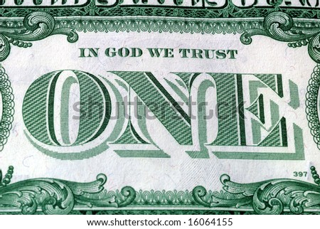 In God We Trust Motto s on the reverse of a US Dollar Bill
