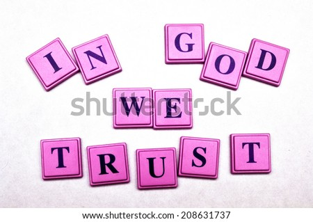 In God we Trust spelled out in block letters