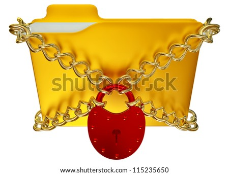 in golden folder with red hinged lock and chains, stores important information