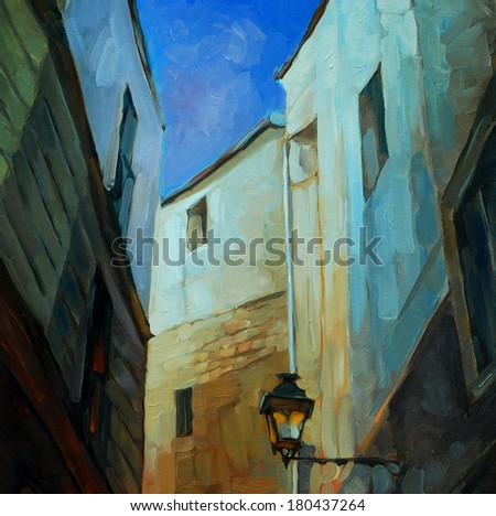 in gothic quarter of barcelona, painting by oil on canvas, illustration - stock photo